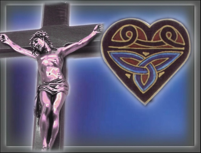 heart celtic on blue background and cross1